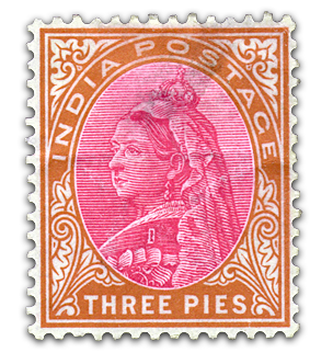 India Queen Victoria Postage - Three Pies